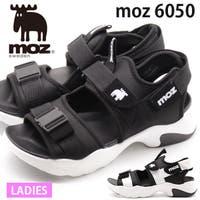 靴のニシムラ | サンダル レディース 靴 スポーツサンダル 黒 白 ブラック ホワイト 軽量 軽い 厚底 スポサン マジックテープ ストラップ モズ moz MZ-6050