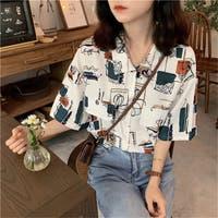 春夏新作 半袖 柄シャツ Tシャツ トップス カットソー 韓国ファッション