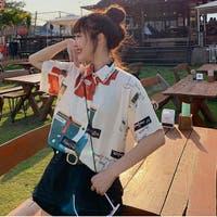 春夏新作 半袖 Tシャツ トップス カットソー 柄シャツ  韓国ファッション