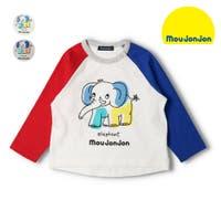 K k コドモノモリイーショップ こどものもりいーしょっぷ  | 【子供服】 moujonjon (ムージョンジョン) 日本製袖配色ぞうプリントTシャツ 80cm〜120cm M14800