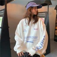 ロゴ ビッグシルエット ロンT トレーナー 薄手  お洒落 韓国ファッション 長袖 ホワイト 人気アイテム  体型カバー 夏服 秋服 トップス 長袖 シンプル 大きいサイズ 可愛い かっこいい 大人 旅行 Tシャツ オーバーサイズ