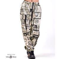 babyshoop  | B系 レディース ファッション ストリート ダンス おしゃれ 総柄 ジャージ ボトム カジュアル インポート ニュースペーパー柄ロングパンツ