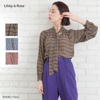 Libby&Rose   幾何学チェックボウタイブラウス