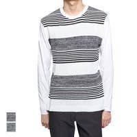 Style Block MEN   Tシャツ カットソー ニットソー クルーネック 丸首 長袖 ロンT ボーダー柄 切り替え 無地 シンプル トップス メンズ ブラック ネイビー 春先行
