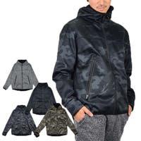 Style Block MEN   パーカー 裏フリース ジップパーカー ボンディング 防風 ベーシック フルジップ 長袖 無地 迷彩 アウター メンズ グレー ブラック カーキカモ ブラックカモ