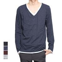 Style Block MEN   Tシャツ カットソー 長袖 Vネック 長袖 ロンT レイヤード 杢柄 スリム トップス メンズ 杢グレー 杢チャコール 杢ネイビー 杢ワイン 春先行