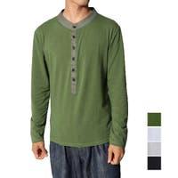 Style Block MEN   ヘンリーネックカットソー Tシャツ 長袖 メンズ ボタン Tシャツ メンズファッション メンズ ロング tシャツ トップス 秋冬