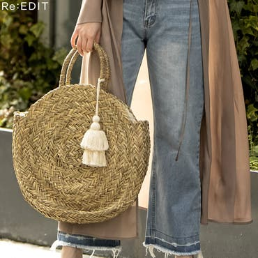夏に取り入れたい大人可愛いサークルかごバッグ 丸型ハンドバッグ バッグ