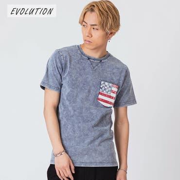 インディゴ染ポケ付きTシャツ