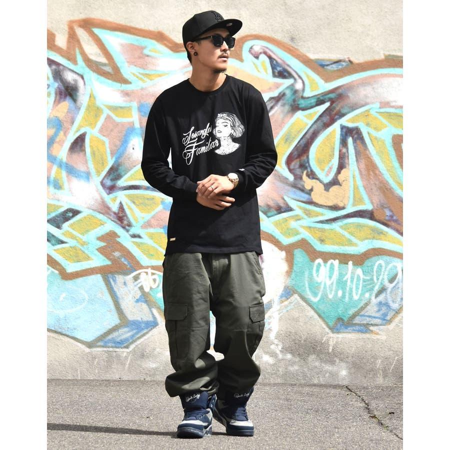 b系 ロンt ロングTシャツ メンズ タトゥーデザイン ギャングスタ 大きいサイズメンズ キングサイズ