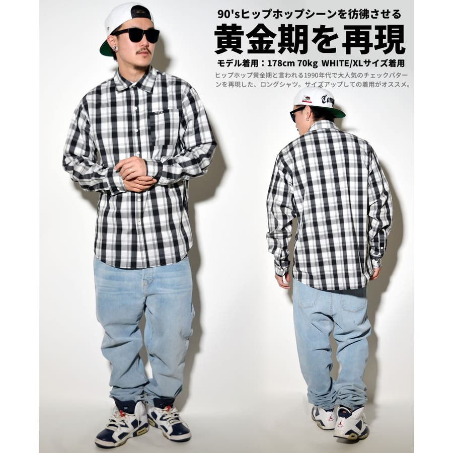 DOP 【ディーオーピー】長袖シャツ メンズ ロングシャツB系 メンズ ファッション ストリート ファッション ダンス 衣装, ヒップホップ