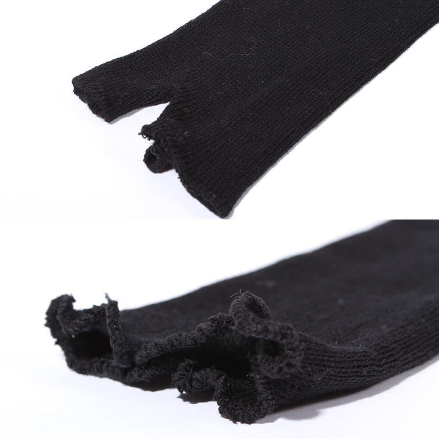 アームウォーマー 手袋 ブラック シンプル アームウォーマー ブラック 黒 てぶくろ サロン系 アメカジ系 キレカジ系 に大人気!! 3