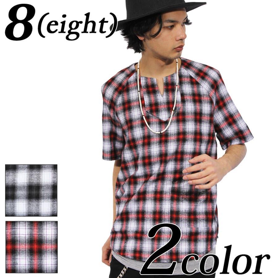普段使いできる シャツ メンズ 半袖シャツ全2色 新作 チェックシャツコットン 綿 半袖 コットンシャツレッド 赤 ブラック タンクトップ付きストリート系 アメカジ系 ロック系8 eight  エイト 8 縛帯