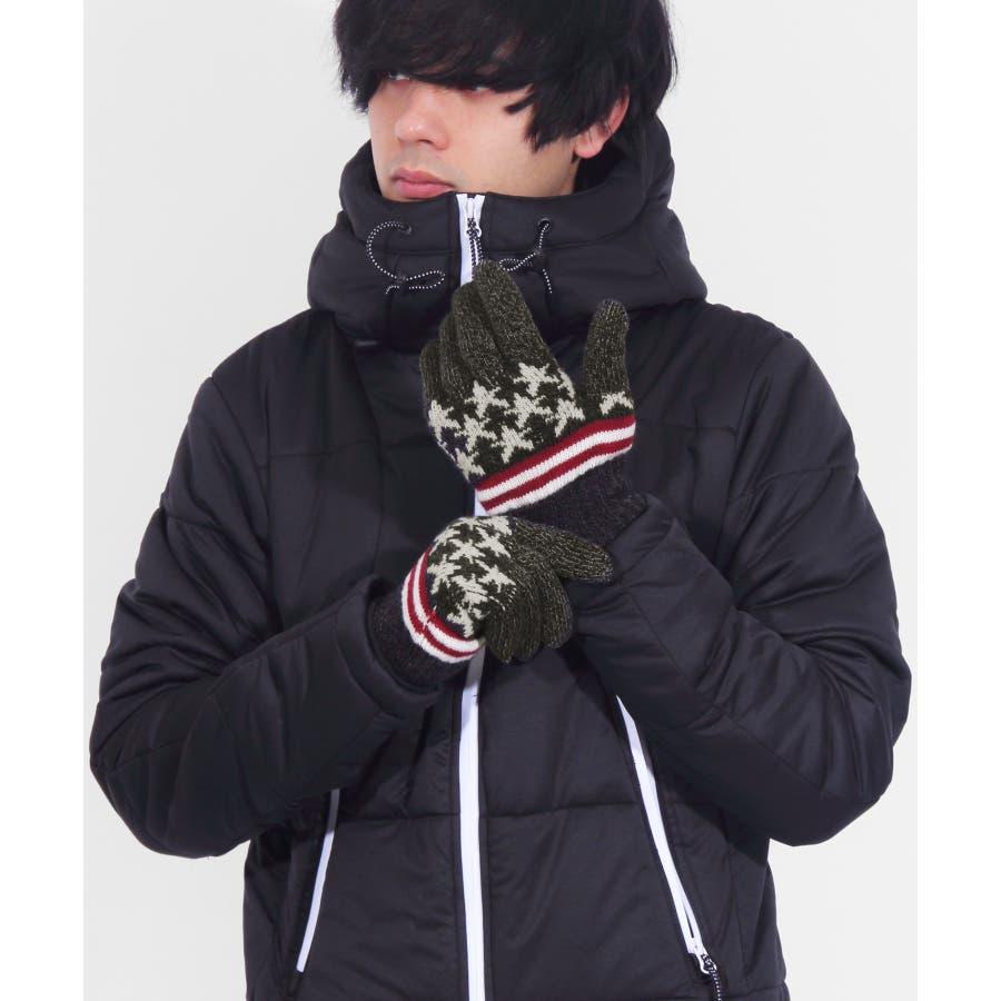 手袋 メンズ ニット全3色 新作 てぶくろUSA アメリカ国旗 ニット 通勤 通学 防寒ブラック グレー ネイビーアメカジ アウトドアに大人気♪8(eight) エイト 8 21