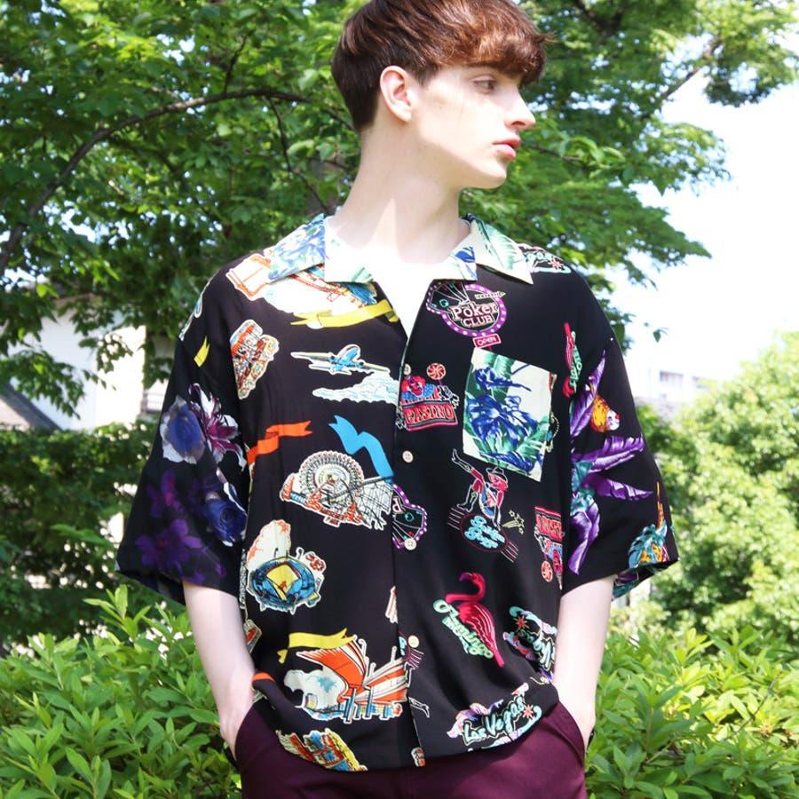 アロハシャツ メンズ ビッグシャツ<br>全7色 新作 シャツ <br> 花柄 半袖 プリント リゾート 白 アロハシャツ<br> ホワイト アロハ ビッグシャツ M L LL<br> アメカジ ストリート 海 夏に♪ 8(eight) エイト 8 <BR> 3