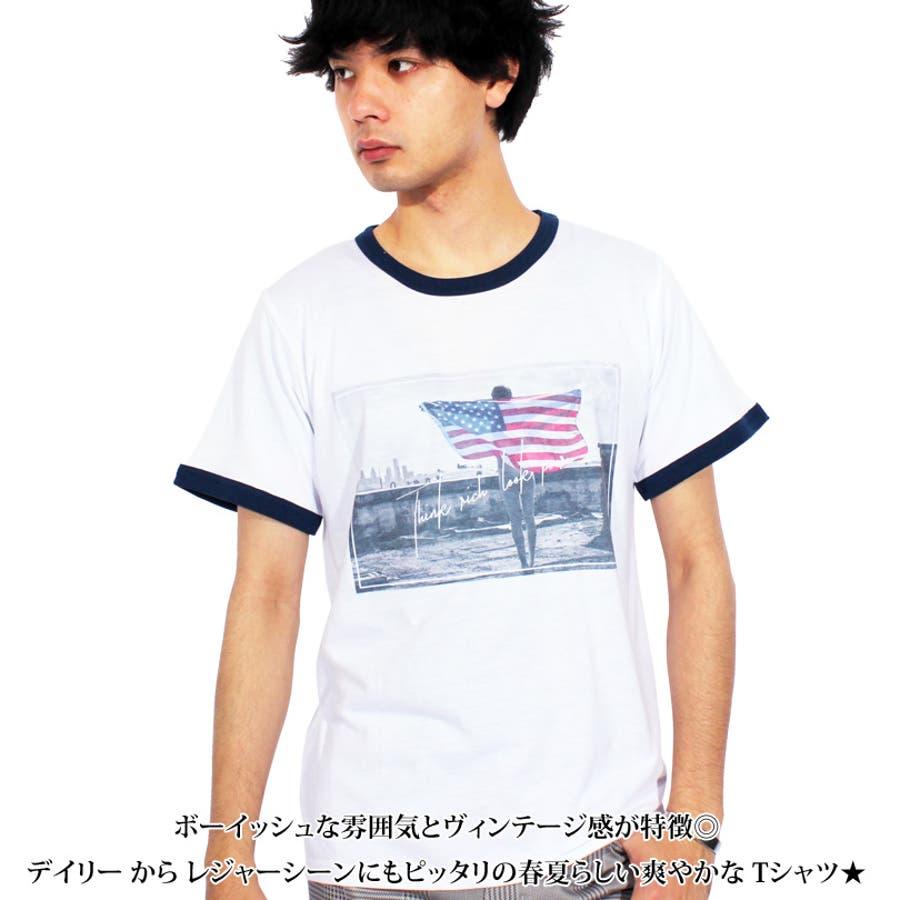 Tシャツ メンズ 半袖 Tシャツ全3色 新作 Tシャツフォト リンガー 半袖Tシャツ オレンジコットン 綿 ブルー 白 フォトM Lストリート系 アメカジ系8(eight) エイト 8 2