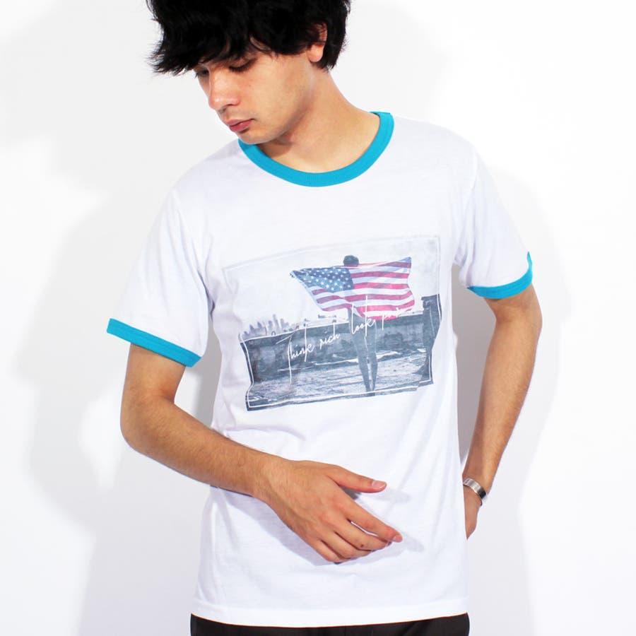 Tシャツ メンズ 半袖 Tシャツ全3色 新作 Tシャツフォト リンガー 半袖Tシャツ オレンジコットン 綿 ブルー 白 フォトM Lストリート系 アメカジ系8(eight) エイト 8 3