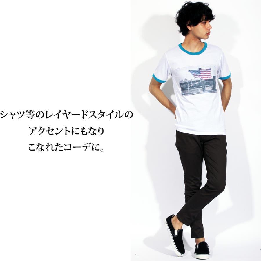 Tシャツ メンズ 半袖 Tシャツ全3色 新作 Tシャツフォト リンガー 半袖Tシャツ オレンジコットン 綿 ブルー 白 フォトM Lストリート系 アメカジ系8(eight) エイト 8 4