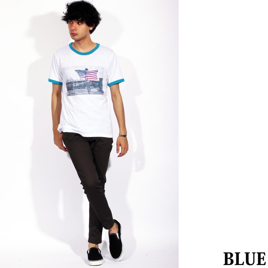 Tシャツ メンズ 半袖 Tシャツ全3色 新作 Tシャツフォト リンガー 半袖Tシャツ オレンジコットン 綿 ブルー 白 フォトM Lストリート系 アメカジ系8(eight) エイト 8 5