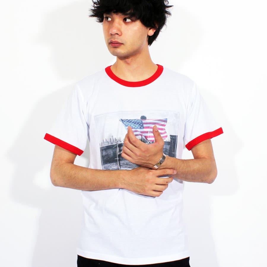 Tシャツ メンズ 半袖 Tシャツ全3色 新作 Tシャツフォト リンガー 半袖Tシャツ オレンジコットン 綿 ブルー 白 フォトM Lストリート系 アメカジ系8(eight) エイト 8 6