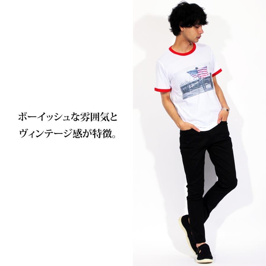 Tシャツ メンズ 半袖 Tシャツ全3色 新作 Tシャツフォト リンガー 半袖Tシャツ オレンジコットン 綿 ブルー 白 フォトM Lストリート系 アメカジ系8(eight) エイト 8 7