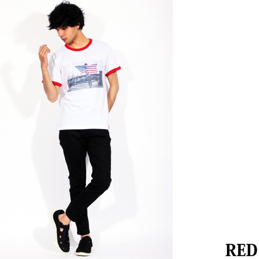 Tシャツ メンズ 半袖 Tシャツ全3色 新作 Tシャツフォト リンガー 半袖Tシャツ オレンジコットン 綿 ブルー 白 フォトM Lストリート系 アメカジ系8(eight) エイト 8 8