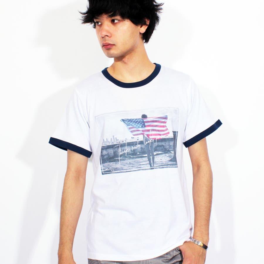 Tシャツ メンズ 半袖 Tシャツ全3色 新作 Tシャツフォト リンガー 半袖Tシャツ オレンジコットン 綿 ブルー 白 フォトM Lストリート系 アメカジ系8(eight) エイト 8 9