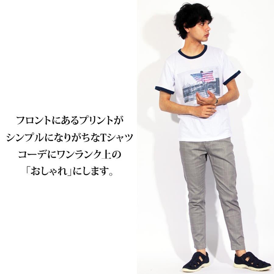 Tシャツ メンズ 半袖 Tシャツ全3色 新作 Tシャツフォト リンガー 半袖Tシャツ オレンジコットン 綿 ブルー 白 フォトM Lストリート系 アメカジ系8(eight) エイト 8 10