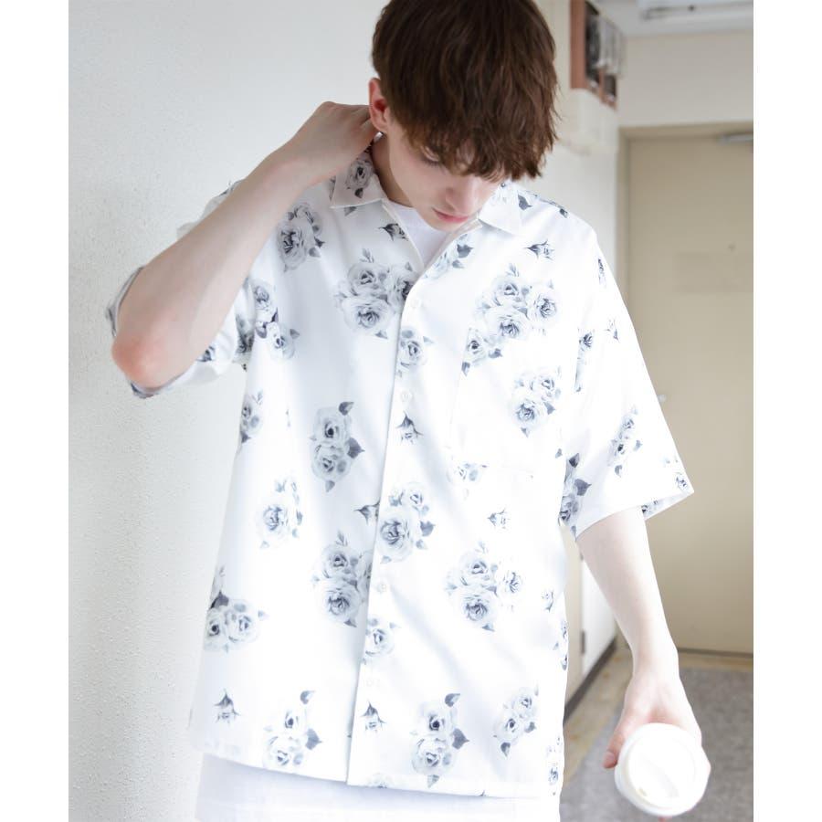 半袖シャツ オーバーシャツ メンズ 半袖シャツ<br> 全3色 新作 シャツ<BR> ローズ 薔薇 ビッグシャツ ビッグシルエット <br> ブラック 黒 ホワイトブルー グレー<br> ストリート アメカジ 韓流 ストリート<BR> 8(eight) エイト 8 <BR> 16
