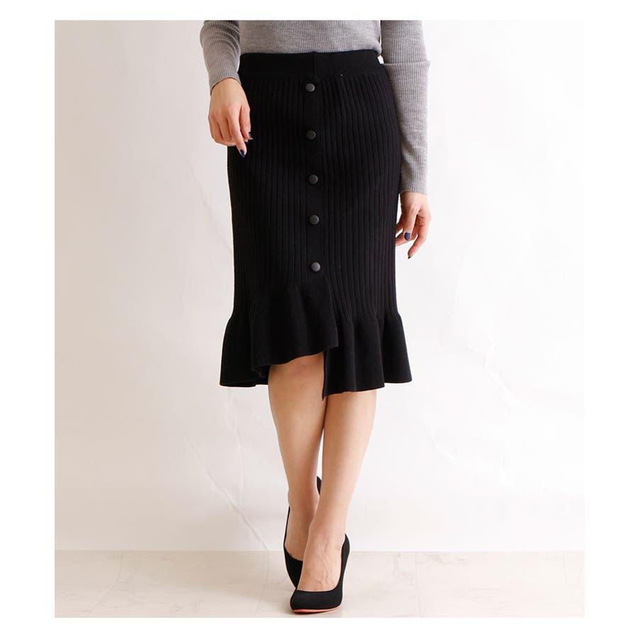 裾アシンメトリーフリルのニットスカート レディース ファッション スカート ブラック リブニット アクリル 秋 冬 ニット フリルアシメ 大人 30代 40代 50代 60代 サワアラモード sawaalamode otona 大人 kawaii 可愛い 洋服かわいい服 mode-5923 3