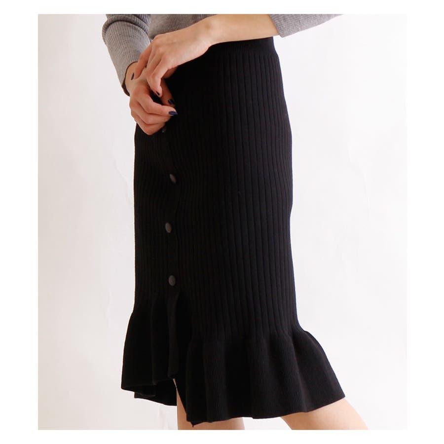 裾アシンメトリーフリルのニットスカート レディース ファッション スカート ブラック リブニット アクリル 秋 冬 ニット フリルアシメ 大人 30代 40代 50代 60代 サワアラモード sawaalamode otona 大人 kawaii 可愛い 洋服かわいい服 mode-5923 4