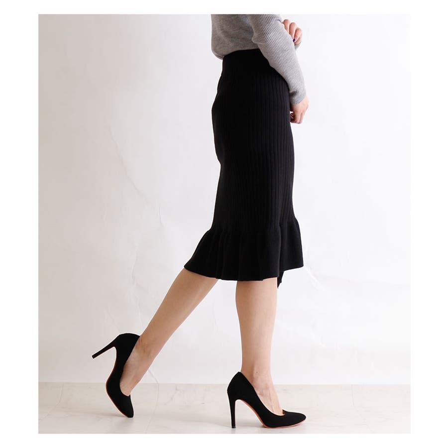 裾アシンメトリーフリルのニットスカート レディース ファッション スカート ブラック リブニット アクリル 秋 冬 ニット フリルアシメ 大人 30代 40代 50代 60代 サワアラモード sawaalamode otona 大人 kawaii 可愛い 洋服かわいい服 mode-5923 5