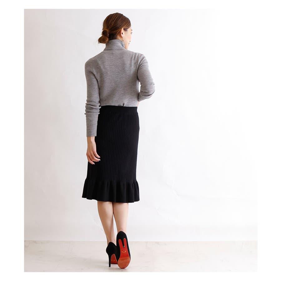 裾アシンメトリーフリルのニットスカート レディース ファッション スカート ブラック リブニット アクリル 秋 冬 ニット フリルアシメ 大人 30代 40代 50代 60代 サワアラモード sawaalamode otona 大人 kawaii 可愛い 洋服かわいい服 mode-5923 6