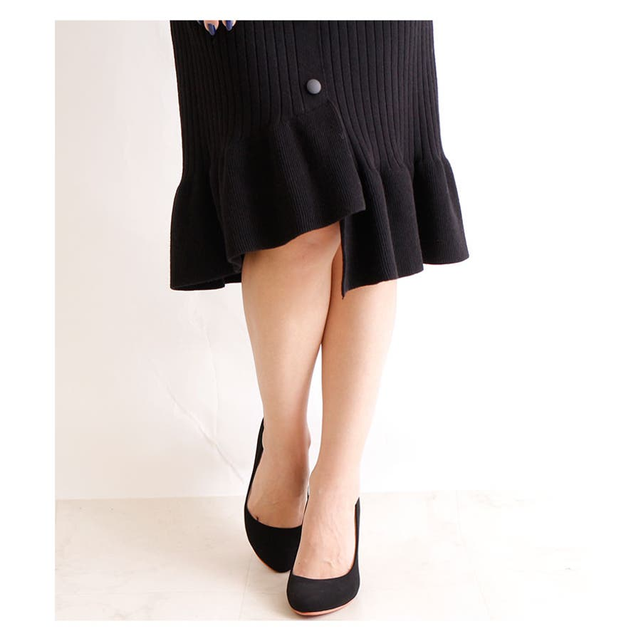裾アシンメトリーフリルのニットスカート レディース ファッション スカート ブラック リブニット アクリル 秋 冬 ニット フリルアシメ 大人 30代 40代 50代 60代 サワアラモード sawaalamode otona 大人 kawaii 可愛い 洋服かわいい服 mode-5923 7