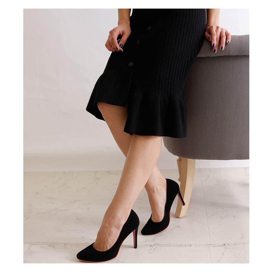 裾アシンメトリーフリルのニットスカート レディース ファッション スカート ブラック リブニット アクリル 秋 冬 ニット フリルアシメ 大人 30代 40代 50代 60代 サワアラモード sawaalamode otona 大人 kawaii 可愛い 洋服かわいい服 mode-5923 8
