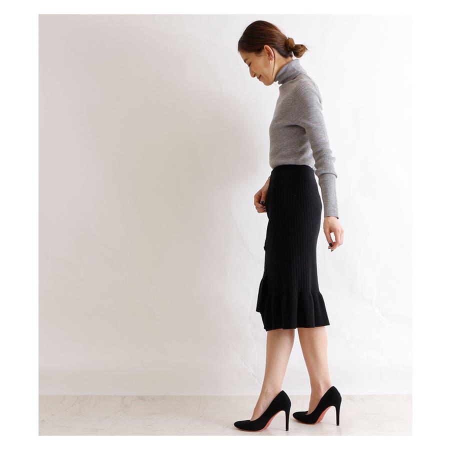 裾アシンメトリーフリルのニットスカート レディース ファッション スカート ブラック リブニット アクリル 秋 冬 ニット フリルアシメ 大人 30代 40代 50代 60代 サワアラモード sawaalamode otona 大人 kawaii 可愛い 洋服かわいい服 mode-5923 9