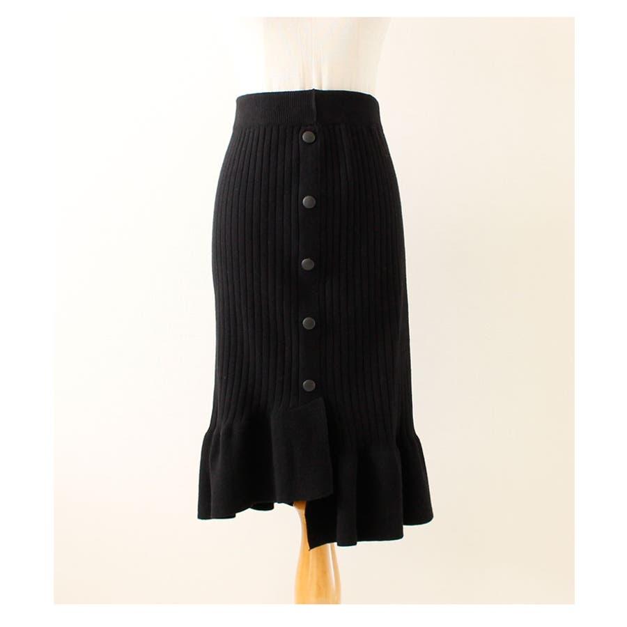 裾アシンメトリーフリルのニットスカート レディース ファッション スカート ブラック リブニット アクリル 秋 冬 ニット フリルアシメ 大人 30代 40代 50代 60代 サワアラモード sawaalamode otona 大人 kawaii 可愛い 洋服かわいい服 mode-5923 10