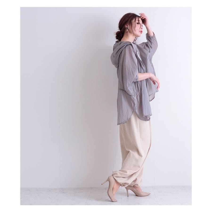 シースルーのフード付きアウター レディース ファッション アウター グレー 長袖 シースルー 春 夏 秋 シースルー フード付き 大人透け感 30代 40代 50代 60代 サワアラモード sawaalamode otona 大人 kawaii 可愛い 洋服かわいい服 mode-6234 9