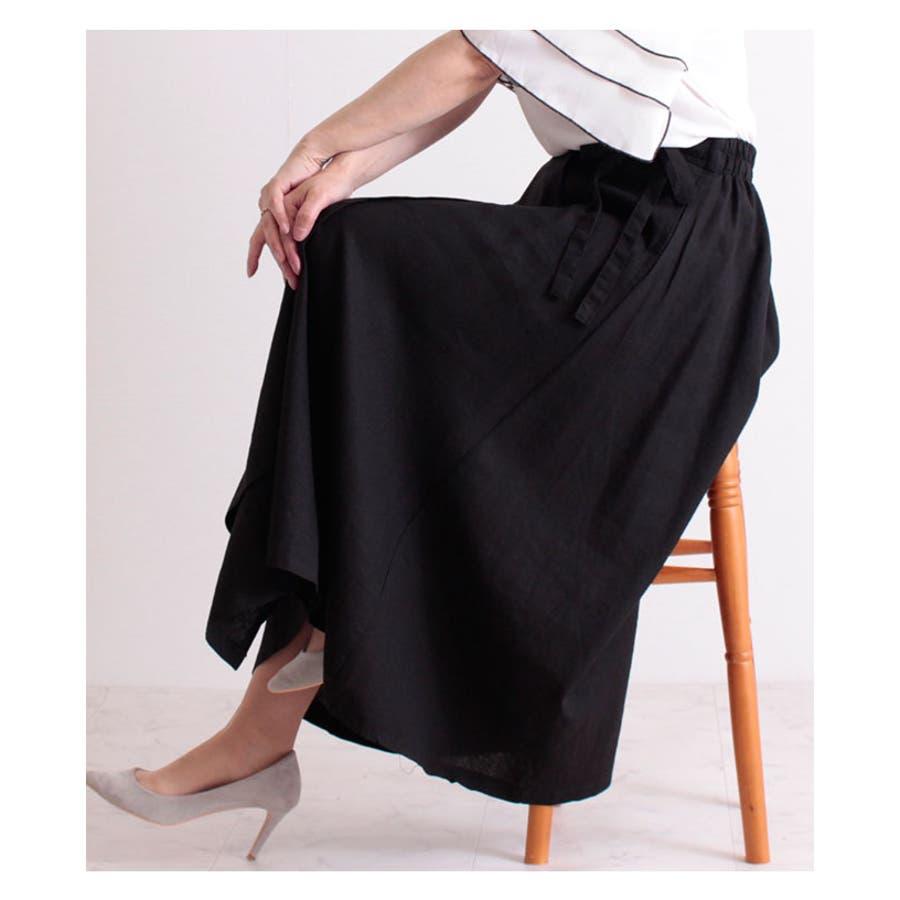 コットンリネンのラップ巻風ロングスカート レディース ファッション スカート ブラック ラップ巻風 ロング丈 春 夏 秋フレアスカート リボン ドレープ 30代 40代 50代 60代 サワアラモード sawaalamode otona 大人kawaii 可愛い 洋服 かわいい服 mode-6205 3