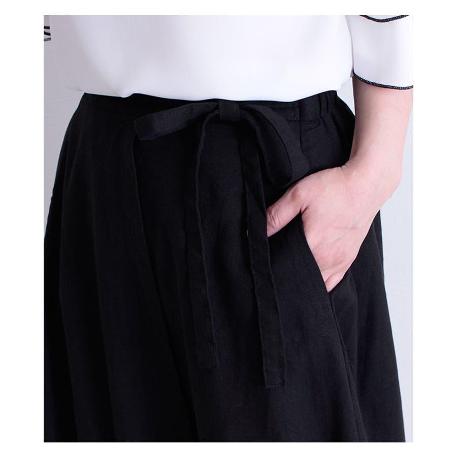 コットンリネンのラップ巻風ロングスカート レディース ファッション スカート ブラック ラップ巻風 ロング丈 春 夏 秋フレアスカート リボン ドレープ 30代 40代 50代 60代 サワアラモード sawaalamode otona 大人kawaii 可愛い 洋服 かわいい服 mode-6205 7