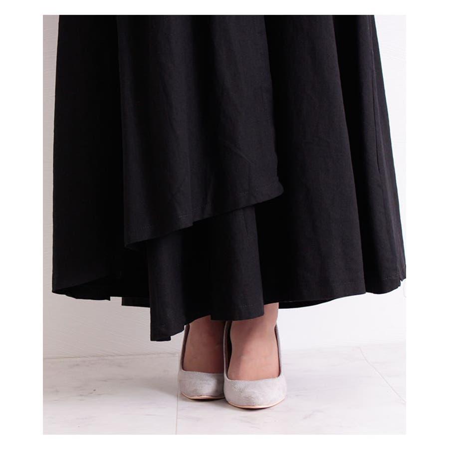 コットンリネンのラップ巻風ロングスカート レディース ファッション スカート ブラック ラップ巻風 ロング丈 春 夏 秋フレアスカート リボン ドレープ 30代 40代 50代 60代 サワアラモード sawaalamode otona 大人kawaii 可愛い 洋服 かわいい服 mode-6205 8