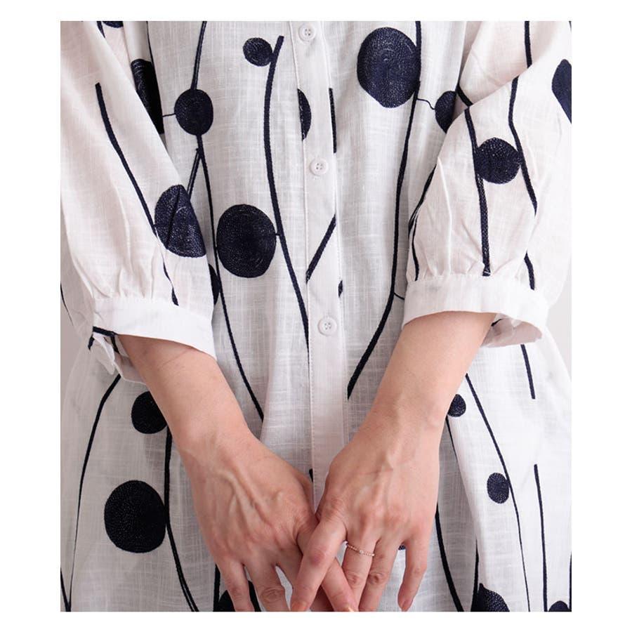 レトロな丸模様刺繍のシャツワンピース レディース ファッション ワンピース ホワイト 7分袖 チュニック 膝丈 春 夏 シャツ 刺繍大人 レトロ 30代 40代 50代 60代 サワアラモード sawaalamode otona 大人 kawaii 可愛い 洋服かわいい服 mode-6169 8