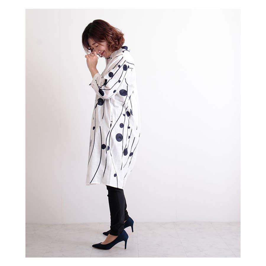 レトロな丸模様刺繍のシャツワンピース レディース ファッション ワンピース ホワイト 7分袖 チュニック 膝丈 春 夏 シャツ 刺繍大人 レトロ 30代 40代 50代 60代 サワアラモード sawaalamode otona 大人 kawaii 可愛い 洋服かわいい服 mode-6169 9