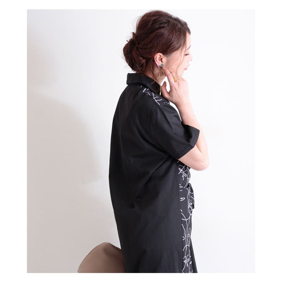 アート模様の半袖シャツワンピース レディース ファッション ワンピース ブラック 半袖 膝丈 春 夏 秋 シャツ モノトーン レトロモード エレガント 30代 40代 50代 60代 サワアラモード sawaalamode otona 大人 kawaii 可愛い洋服 かわいい服 mode-6358 5