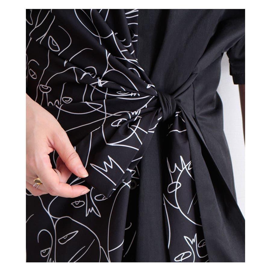 アート模様の半袖シャツワンピース レディース ファッション ワンピース ブラック 半袖 膝丈 春 夏 秋 シャツ モノトーン レトロモード エレガント 30代 40代 50代 60代 サワアラモード sawaalamode otona 大人 kawaii 可愛い洋服 かわいい服 mode-6358 7