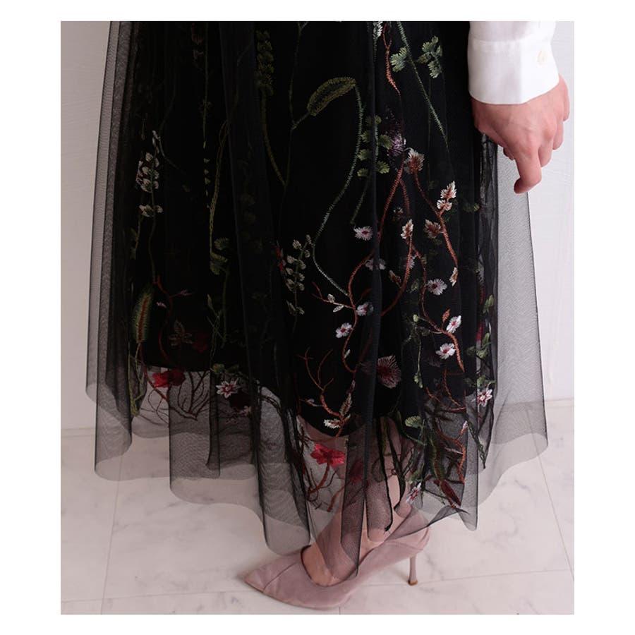 ボタニカル刺繍のチュールレーススカート レディース ファッション スカート ブラック ミモレ丈 チュールレース 春 夏 秋 冬フレアスカート ボタニカル 30代 40代 50代 60代 サワアラモード sawaalamode otona 大人 kawaii可愛い 洋服 かわいい服 mode-6504 4