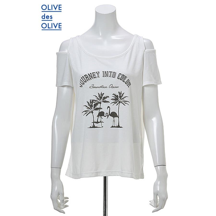 ファッション好きが選ぶ 肩あきフラミンゴTシャツ OLIVE des OLIVE 軍役