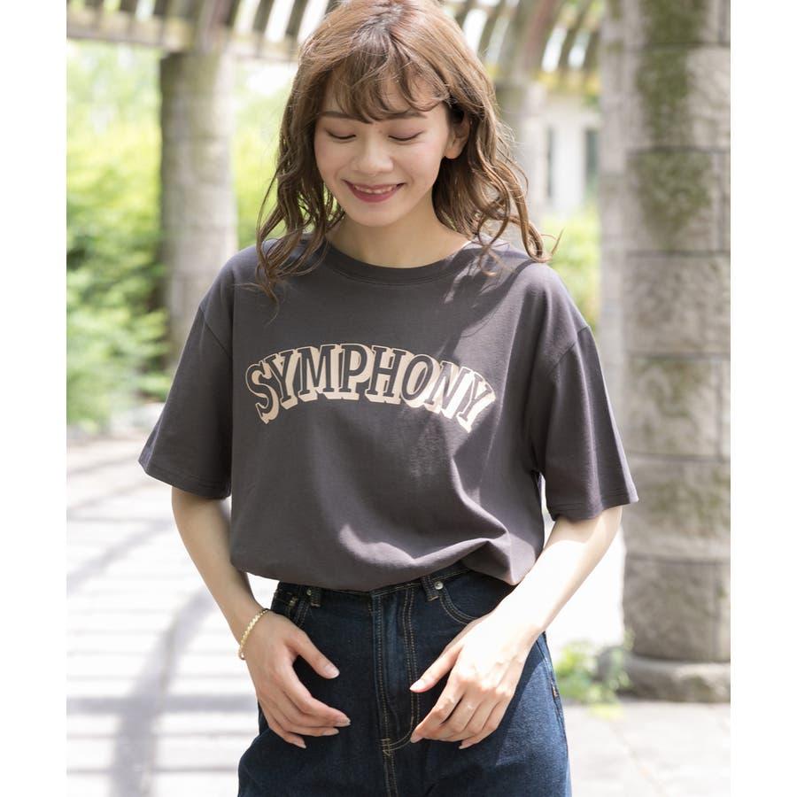 ロゴプリントTシャツ ロゴ Tシャツ 半袖 コットン トップス ロゴTシャツ クルーネック オーバーサイズ レディースプリントロゴ入り カットソー 2