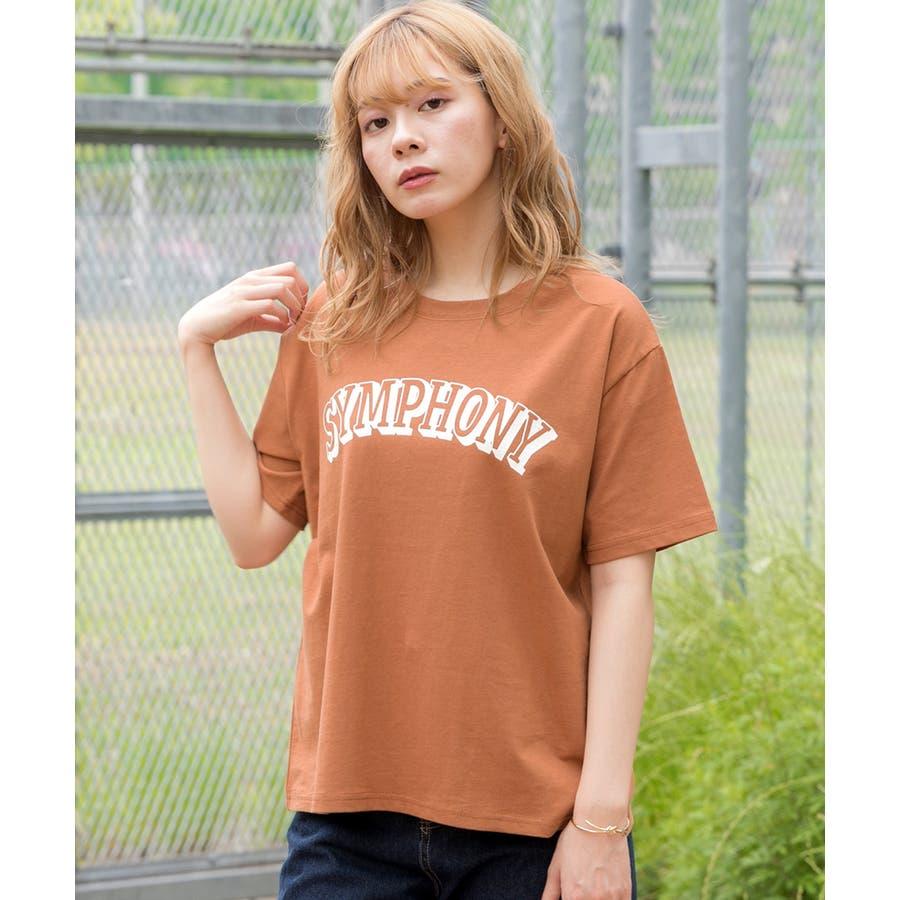 ロゴプリントTシャツ ロゴ Tシャツ 半袖 コットン トップス ロゴTシャツ クルーネック オーバーサイズ レディースプリントロゴ入り カットソー 135