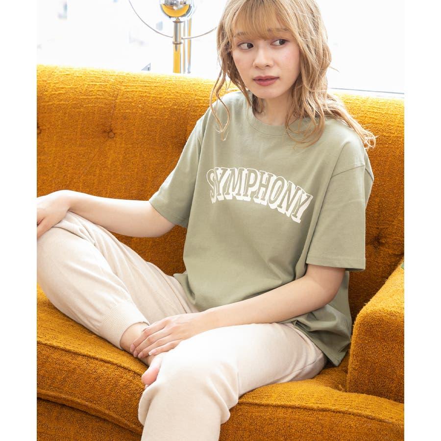 ロゴプリントTシャツ ロゴ Tシャツ 半袖 コットン トップス ロゴTシャツ クルーネック オーバーサイズ レディースプリントロゴ入り カットソー 53